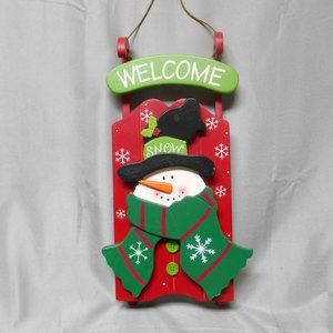 Other - Wood welcome sled with snowman hanging decorative